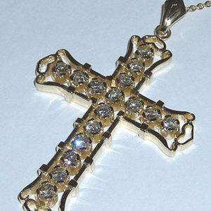 4 carats yellow gold diamonds cross pendant chain